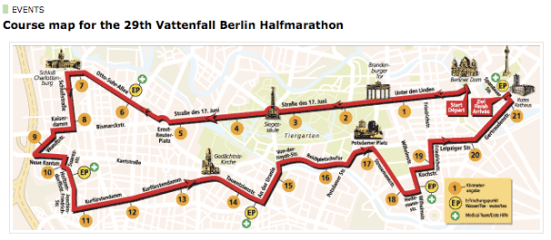 Map Berliner Half Marathon