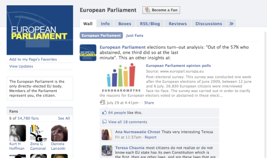European Parliament on Facebook